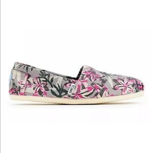 TOMS Classics Gray Pink Floral Shoes Slip Ons